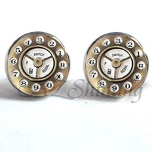 Jewelry - NEW Silver Round Retro Telephone Stud Earrings